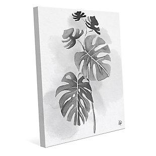 Split Leaf Philodendron Noir 24X36 Canvas Wall Art, Black/Gray/White, large