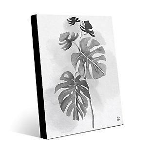 Split Leaf Philodendron Noir 24X36 Metal Wall Art, Black/Gray/White, rollover