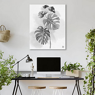 Split Leaf Philodendron Noir 24X36 Metal Wall Art, Black/Gray/White, large