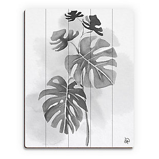 Split Leaf Philodendron Noir 20X24 Wood Plank Wall Art, Black/Gray/White, rollover