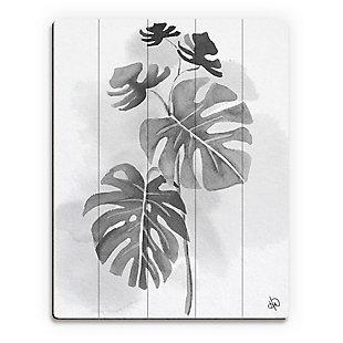 Split Leaf Philodendron Noir 20X24 Wood Plank Wall Art, Black/Gray/White, large