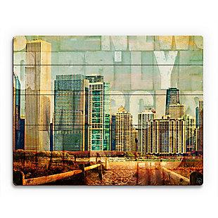 Urban City 20 x 24 Wood Plank Wall Art, Brown/Green/Yellow, rollover