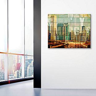 Urban City 20 x 24 Wood Plank Wall Art, Brown/Green/Yellow, large