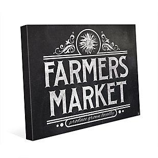 Farmers Market Sign Chalkboard 24 X 36 Canvas Wall Art, Black/White, rollover