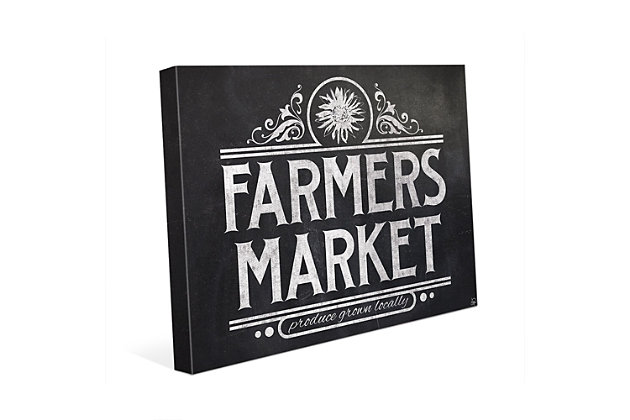 Farmers Market Sign Chalkboard 24 X 36 Canvas Wall Art, Black/White, large
