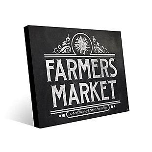 Farmers Market Sign Chalkboard 24 x 36 Metal Wall Art, Black/White, large