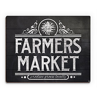 Farmers Market Sign Chalkboard 20 x 24 Wood Plank Wall Art, Black/White, rollover