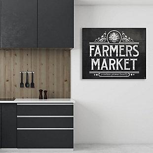 Farmers Market Sign Chalkboard 20 x 24 Wood Plank Wall Art, Black/White, large