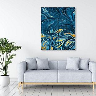 Lapis and Corundum 20 x 24 Wood Plank Wall Art, Blue/Yellow, large