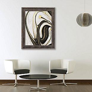 Howlite and Onyx 24 x 36 Barnwood Framed Canvas, Black/White/Yellow, large
