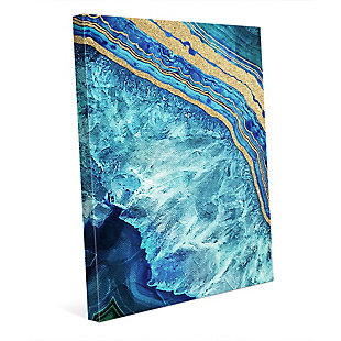 Gold Trimmed Geode Sapphire 24 x 36 Canvas Wall Art, Blue/Yellow, rollover