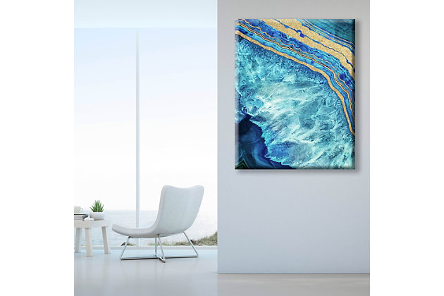 Gold Trimmed Geode Sapphire 24 x 36 Canvas Wall Art, Blue/Yellow, large