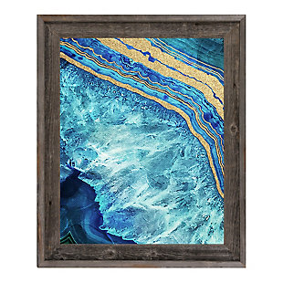 Gold Trimmed Geode Sapphire 24 x 36 Barnwood Framed Canvas, Blue/Yellow, rollover