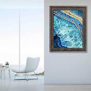Gold Trimmed Geode Sapphire 24 x 36 Barnwood Framed Canvas, Blue/Yellow, large