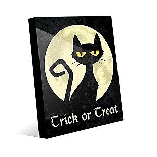 Trick or Treat Cat - Yellow 24 x 36 Acrylic Wall Art, Black/Yellow, large