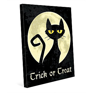 Trick or Treat Cat - Yellow 30 x 40 Canvas Wall Art, , large