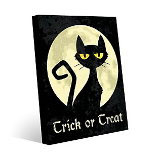 Trick or Treat Cat - Yellow 24 x 36 Metal Wall Art, Black/Yellow, rollover