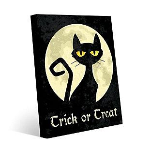 Trick or Treat Cat - Yellow 24 x 36 Metal Wall Art, Black/Yellow, large