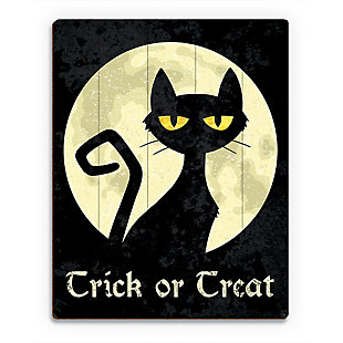 Trick or Treat Cat - Yellow 20 x 24 Wood Plank Wall Art, Black/Yellow, large