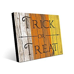Wood Trick or Treat Alpha 24 x 36 Metal Wall Art, Orange/White/Yellow, rollover