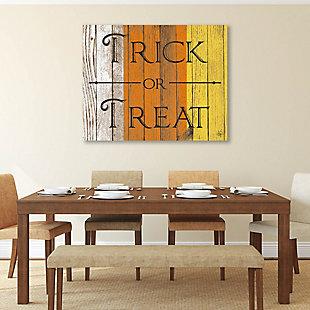 Wood Trick or Treat Alpha 24 x 36 Metal Wall Art, Orange/White/Yellow, large