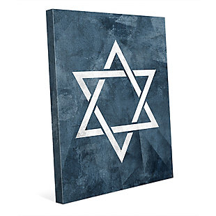 Star of David - Slate Blue 24 x 36 Canvas Wall Art, Blue/White, rollover