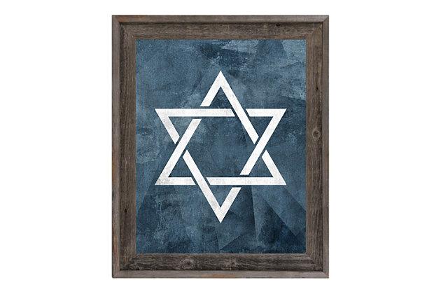 Star Of David - Slate Blue 24 X 36 Barnwood Framed Canvas, Blue/White, large