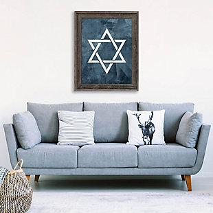 Star of David - Slate Blue 24 x 36 Barnwood Framed Canvas, , large