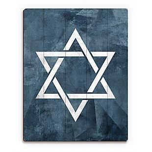 Star of David - Slate Blue 20 x 24 Wood Plank Wall Art, Blue/White, rollover