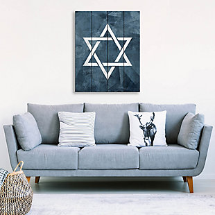 Star of David - Slate Blue 20 x 24 Wood Plank Wall Art, Blue/White, large