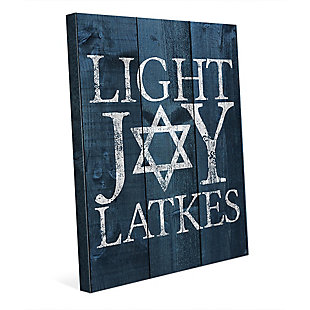 Light Joy Latkes Blue Fenced 16 x 20 Canvas Wall Art, , rollover