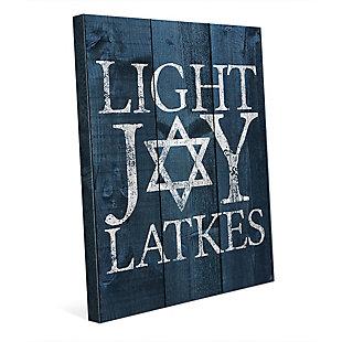 Light Joy Latkes Blue Fenced 24 X 36 Canvas Wall Art, Blue/White, rollover
