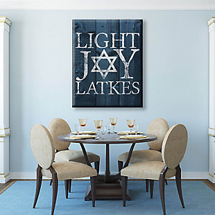 Light Joy Latkes Blue Fenced 24 X 36 Canvas Wall Art, Blue/White, large