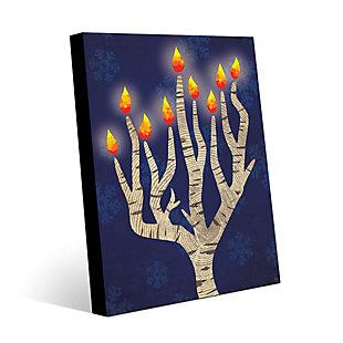 Menorah Tree at Night 24 x 36 Metal Wall Art, Blue/White, large