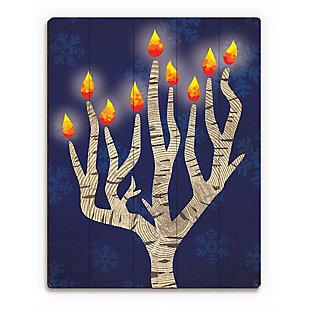 Menorah Tree at Night 20 x 24 Wood Plank Wall Art, Blue/White, rollover