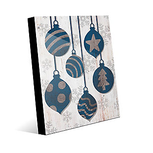 Blue with Silver Tree Ring Ornaments 24 x 36 Acrylic Wall Art, Blue/White, large