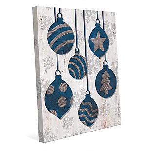 Blue with Silver Tree Ring Ornaments 24 x 36 Canvas Wall Art, Blue/White, large