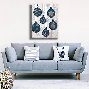 Blue with Silver Tree Ring Ornaments 30 x 40 Canvas Wall Art, , rollover