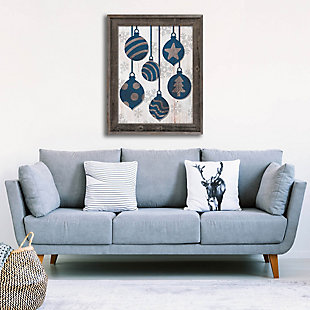 Blue With Silver Tree Ring Ornaments 24 X 36 Barnwood Framed Canvas, Blue/White, rollover