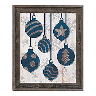 Blue With Silver Tree Ring Ornaments 24 X 36 Barnwood Framed Canvas, Blue/White, large