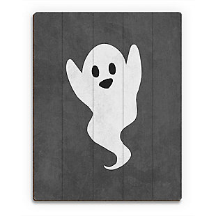 Boo - Gray 20 x 30 Wood Plank Wall Art, , large