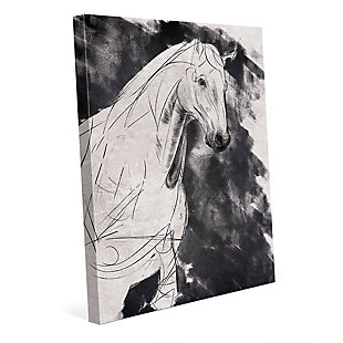 Sketchy Horse Base Right 24X36 Canvas Wall Art, Black/Gray/White, large