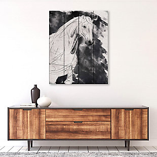 Sketchy Horse Base Right 20X24 Wood Plank Wall Art, Black/Gray/White, rollover