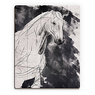 Sketchy Horse Base Right 20X24 Wood Plank Wall Art, Black/Gray/White, large