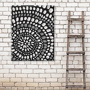 Radiant Dots White On Black 24X36 Canvas Wall Art, Black/Gray/White, rollover