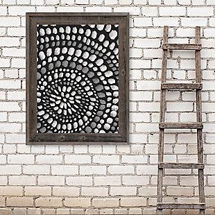 Radiant Dots White On Black 24X36 Barnwood Framed Canvas, Black/Gray/White, rollover
