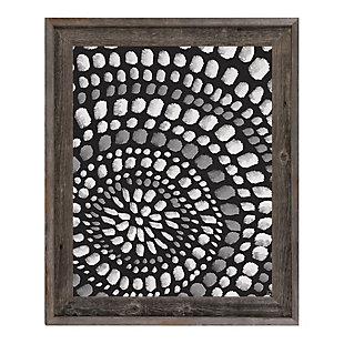 Radiant Dots White On Black 24X36 Barnwood Framed Canvas, Black/Gray/White, large