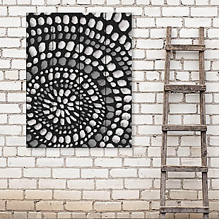 Radiant Dots White On Black 20X24 Wood Plank Wall Art, Black/Gray/White, rollover
