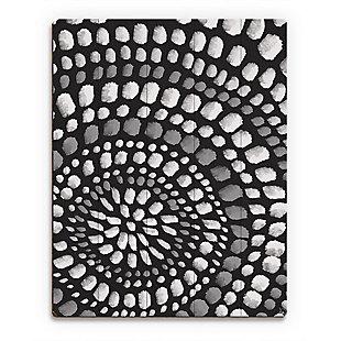 Radiant Dots White On Black 20X24 Wood Plank Wall Art, Black/Gray/White, large