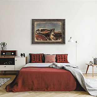 Hot Rod Tail 24X36 Barnwood Framed Canvas, Black/Gray/White, rollover